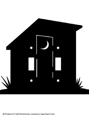 Custom Out House Double Switch Plate Steel Textured Black Powder Coat Finish