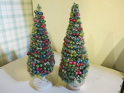 rare antique pair of bottlebrush trees with silver mercury glass garlands 1930