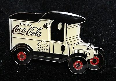 Coke Coca-Cola Antique Style Transportation Delivery Truck WHITE PANEL Lapel Pin