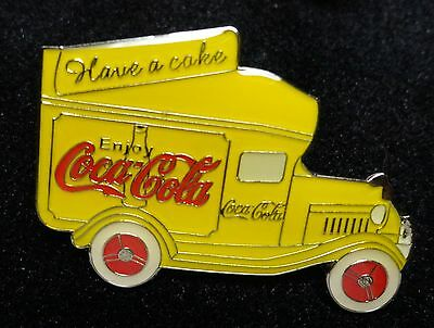 Coke Coca-Cola Antique Style YELLOW Bottle Transportation Delivery Truck Car Pin