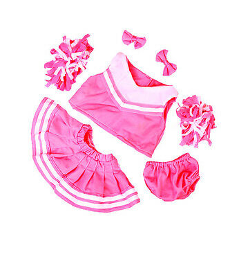 """Cheerleader Pink and White New 16"""" by Teddy Mountain will fit Build a Bear"""