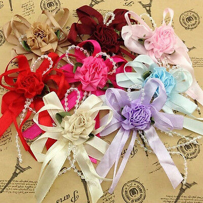 8/15/50pcs Big Satin Ribbon Flower Bows with Bead wedding Decoration Craft A0100