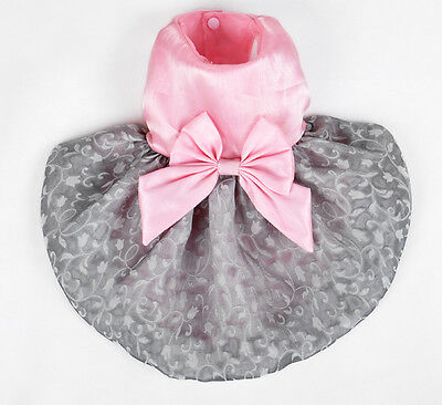 SMALL SIZE ELEGANT PINK & GRAY DOG CLOTHES TEDDY PARTY CLASSIC DOG DRESS 12#