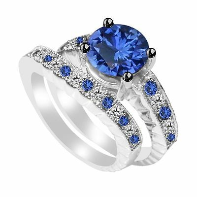 1.74 Ct Blue Sapphire & White Topaz Bridal Set Ring Sterling Silver Free Sizing