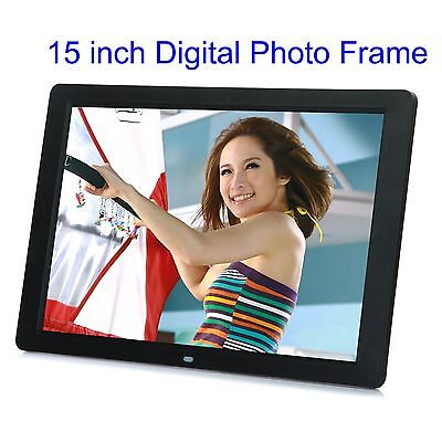 "15"" LCD HD High Resolution Digital Picture Photo Frame + Remote Controller Black"