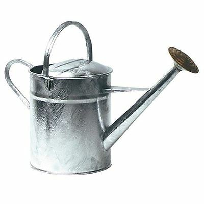 Traditional 9 Litre Galvanised Steel Garden Watering Can & Brass Face Rose