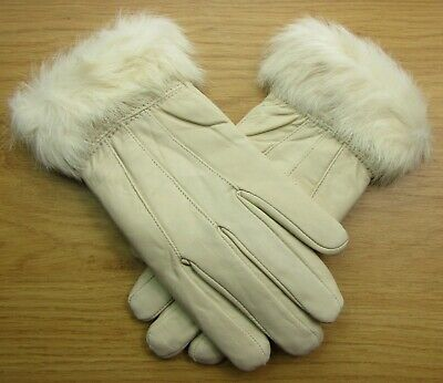 Ladies Beige Faux Fur Trim Super Soft Real Leather Fully Lined Gloves Everyday