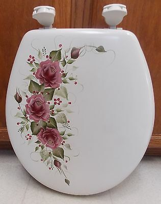 Hand Painted Roses/toilet Seat/maroon Roses/new Item By Mb