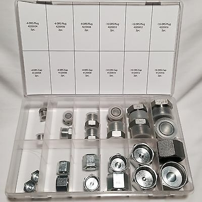 24 Pc Lot Orfs O-Ring Ors Plug And Cap Hydraulic Fitting Flat Face Kit Set