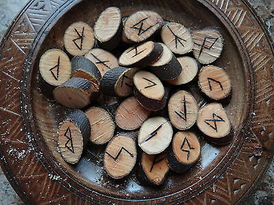 Natural Apple Wood Runes Wiccan Pagan Altar Supply