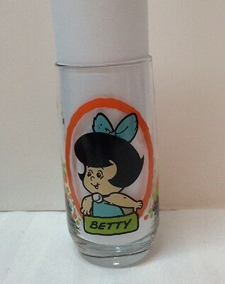PROMO Glass 1986 Pizza Hut Hanna-Barbera The Flintstone Kids Betty 16 oz