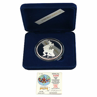 5 TROY OUNCE SILVER RARITIES MINT GOOFY AND PLUTO  COIN SERIAL #236 4748-07