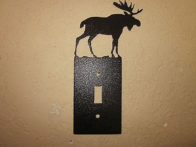Custom Moose Single Switch Plate Steel Textured Black Powder Coat Finish
