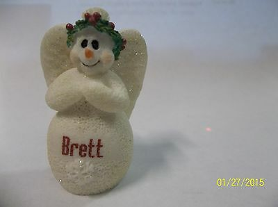 Personalized BRETT Ornament Snowman Angel - White - holly wreath - sparkly