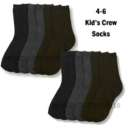 12 Pairs Youth & Toddler 4-6 Crew High Sports Socks Navy Gray Brown boys girls