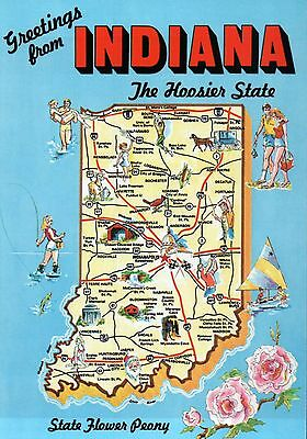 "Greetings from Indiana, "" The Hoosier State "", Indianapolis - State Map Postcard"