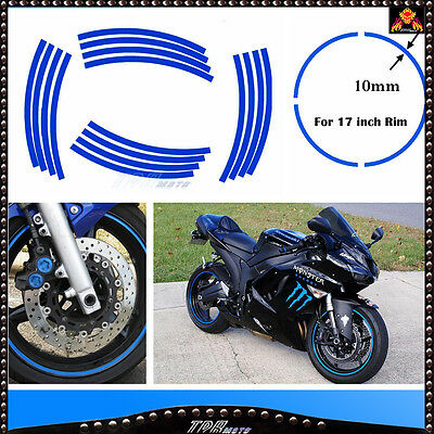 BLUE Motorbike Motorcycle Rim Stripe Tape Wheel Decal  Sticker Car Bike