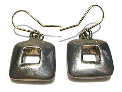 RLM ROBERT LEE MORRIS VINTAGE STERLING SILVER 14K GOLD MODERN SQUARE EARRINGS