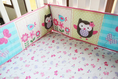 New 4pc Cotton Baby Crib Cot Bumpers Pad Padded & Quilted Full Surround