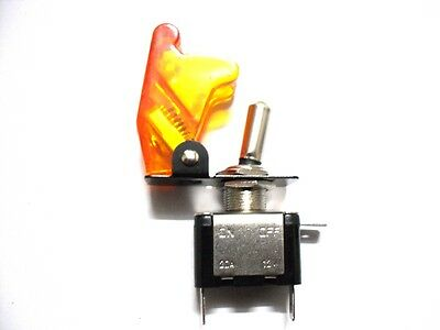 Toggle Switch with Orange/Amber LED + Amber Missile Cover DC 12V 20A ON-OFF
