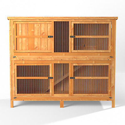 4ft Chartwell Double XL Rabbit Hutch Guinea Pig Cage Wooden Deluxe Pet House