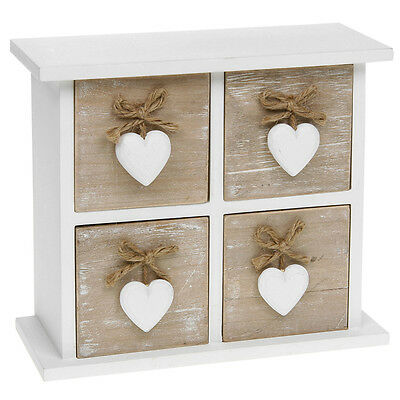 Provence Cream Four Drawer Chest With Hearts 26 X 16Cm Shabby Chic Square Design