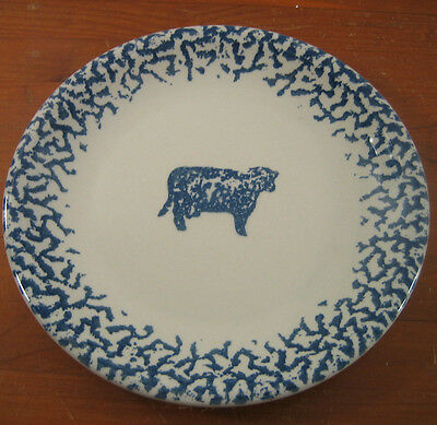 Tienshan Animals Dinner Plate Cow Blue Spongeware Sponge Border Folk Art