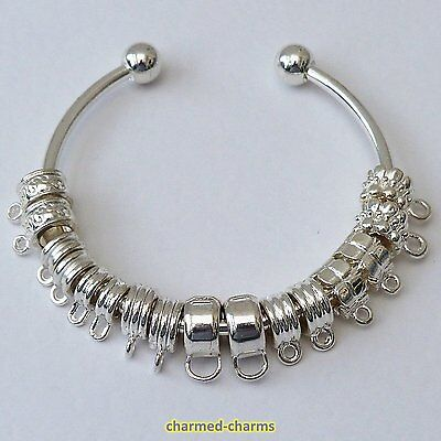 1, 4, 10 or 40 x Silver Plated Bails / Charm Bracelet Dangle Bead Connectors