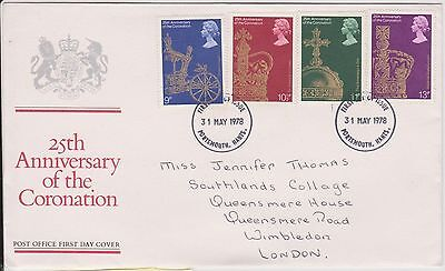 (KS70) 1978 GB FDC 25th anniversary of coronation 4 stamps