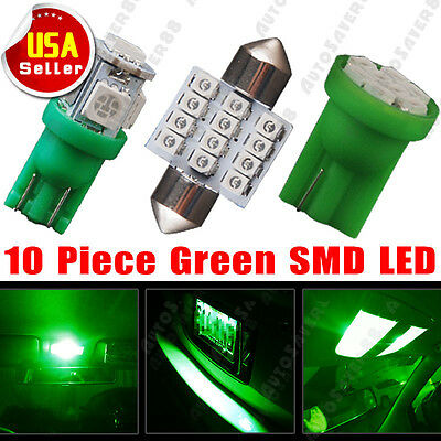 10 PCS Green LED Lights Interior Package for T10 & 31mm Map Dome + License Plate