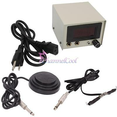 LCD Digital Tattoo Power Supply Foot Pedal Switch w/ Clip Cords for Machine Gun