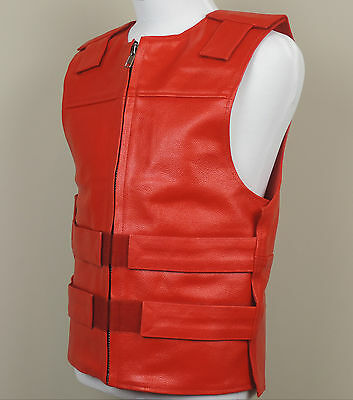 RED - Leather - Bulletproof Style Motorcycle Vest