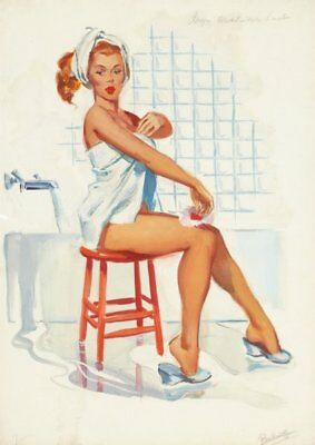 Joyce Ballantyne Red Haired Pinup in Towel Vintage Art Print - A4 A3 A2 A1