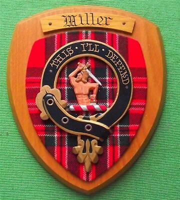 Old Scottish Carved Oak Clan Miller Coat  Arms Plaque Crest Shield