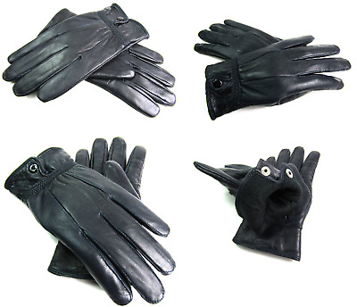 Ladies High Quality Real Soft Navy Leather Gloves Fully Lined Driving  Warm