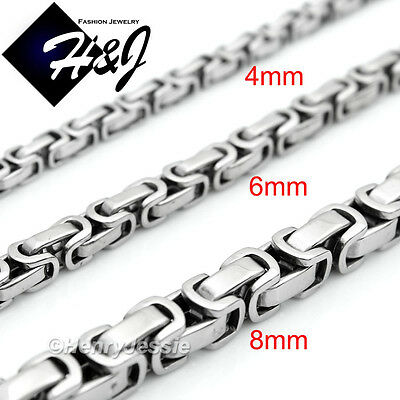 """18-40""""MEN Stainless Steel 4mm/6mm/8mm Silver Byzantine Box Link Chain Necklace*T"""