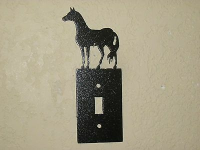 Custom Horse Single Switch Plate Steel Textured Black Powder Coat Finish
