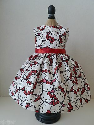 "Doll Clothes Dress Fits 18"" American Girl - Hello Kitty Print Fabric"