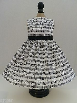 "Doll Clothes Dress Fits 18"" American Girl  - Black and White Music Notes"