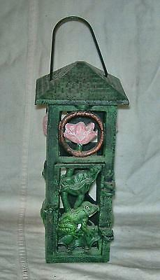 CAST IRON GARDEN ACCENT HANGING GREEN TEA LIGHT FROG AND FLOWER