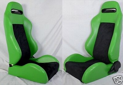 New 1 Pair Green & Black 2 Tone Racing Seats For All Acura