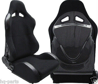 New 1 Pair Black Cloth Carbon Look Cover Racing Seats Reclinable Fit For Acura