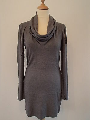 Robe col large grise 40/42 Y008 laine cachemire mohair neuf  ladydjou