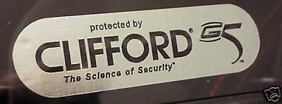NEW 2 x CLIFFORD CAR VAN ALARM SECURITY WINDOW STICKERS. NEW STYLE BARGAIN BUY