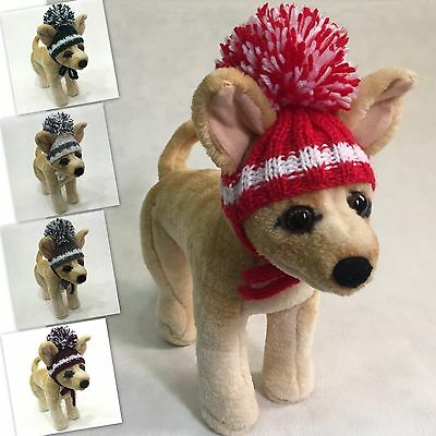 c0e00e8568b Handmade Knit Clothes Pompom Hat with Ties for Dogs   Pets Size XXS