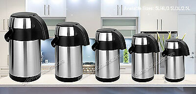 Hot Cold Airpot Flask Thermos Tea Cofee Drink S/s Pump Action Vacuum 5 Size New