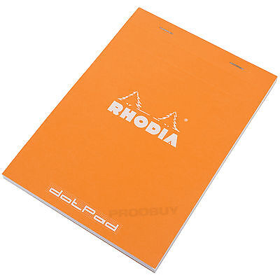 Rhodia A5 Dot Pad Orange Staplebound #16 dotPad Matrix Grid Drawing Sketch Book
