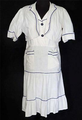 VERY RARE 1920'S-1930'S WHITE WOVEN COTTON ETHNIC DRESS AND JACKET PLUS SIZE 18+