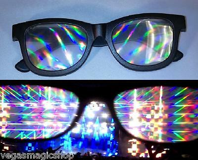 Diffraction Glasses - Black - 3D Prism Lights Rave Club Parties Fireworks Laser