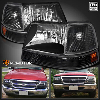 1998 2000 Ford Ranger Black Crystal Headlights Parking Corner Lamps Left Right